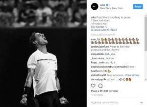 Il tennista Nadal in una foto dell'account Instagram di Nike