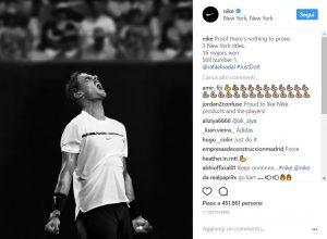 Il tennista Nadal in una foto dell'account Instagram di Nike